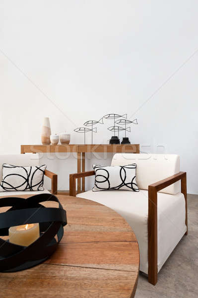 Brown white furniture in a living room Stock photo © 3523studio