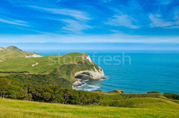 Veda park Yeni Zelanda plaj su bulutlar Stok fotoğraf © 3523studio
