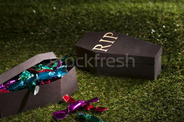 Halloween tabut çim şekerleme yeşil Stok fotoğraf © 3523studio