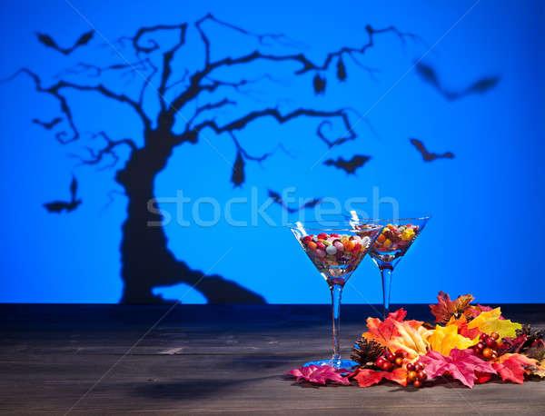 Хэллоуин пейзаж конфеты дерево стакан мартини небе Сток-фото © 3523studio