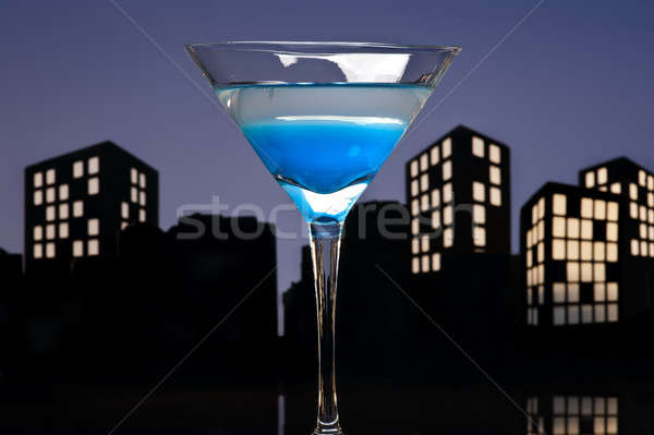 Metropolis Blauw martini cocktail skyline partij Stockfoto © 3523studio