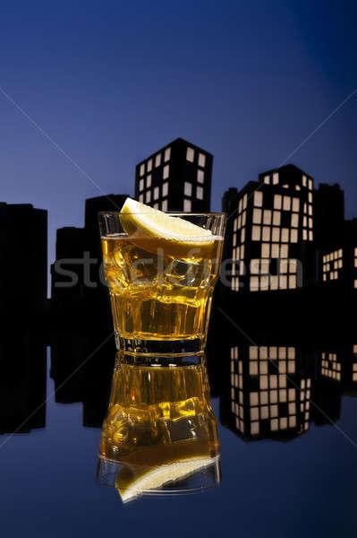 Metropolis whisky zuur cocktail Blauw Stockfoto © 3523studio