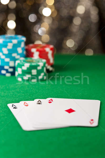 Quatre ace poker table puces or Photo stock © 3523studio