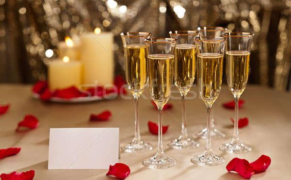 Ouro brilho recepção de casamento champanhe velas vinho Foto stock © 3523studio