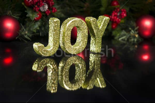 Hoofdletter geschreven vreugde schitteren effect zwarte Stockfoto © 3523studio