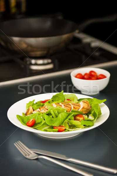 Pechuga de pollo ensalada ingrediente superior pollo Foto stock © 3523studio