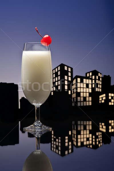 Metropolia pina colada koktajl strony owoców Zdjęcia stock © 3523studio