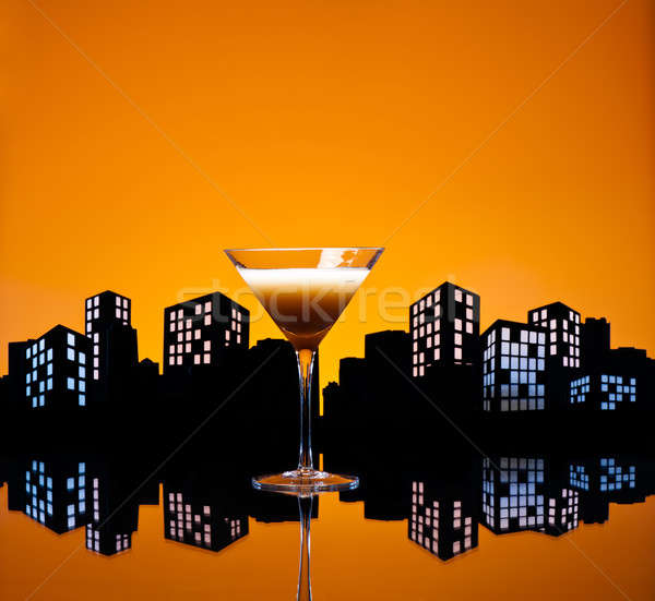 Métropole café martini cocktail Skyline lumière Photo stock © 3523studio
