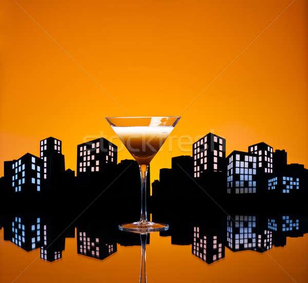 Metrópole café martini coquetel linha do horizonte luz Foto stock © 3523studio