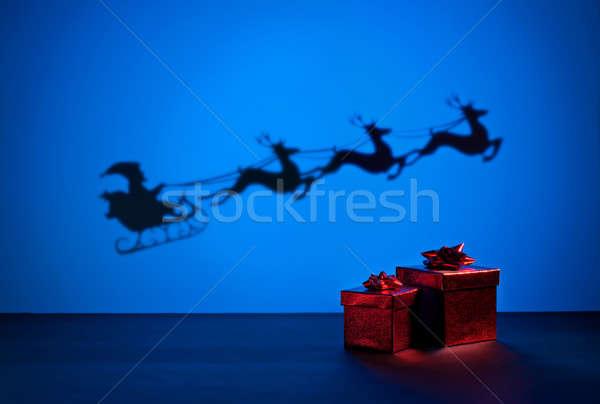 Sanki przedstawia sposób polu niebieski Jeleń Zdjęcia stock © 3523studio