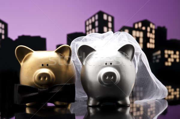 Metropolis City pig wedding the piggy bank with veil and bow tie Stock photo © 3523studio