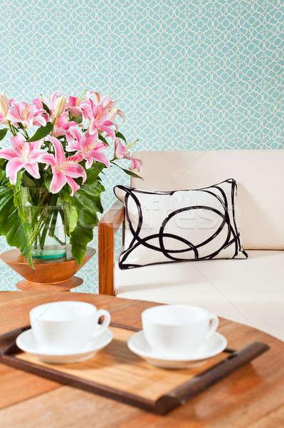Heldere witte meubels woonkamer turkoois Blauw Stockfoto © 3523studio