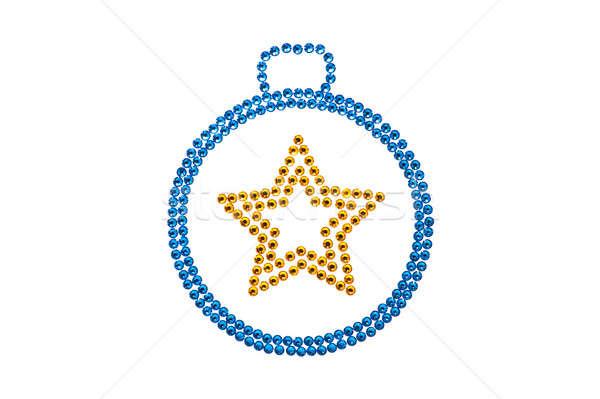 Csecsebecse kék citromsárga fehér tél csillag Stock fotó © 3523studio
