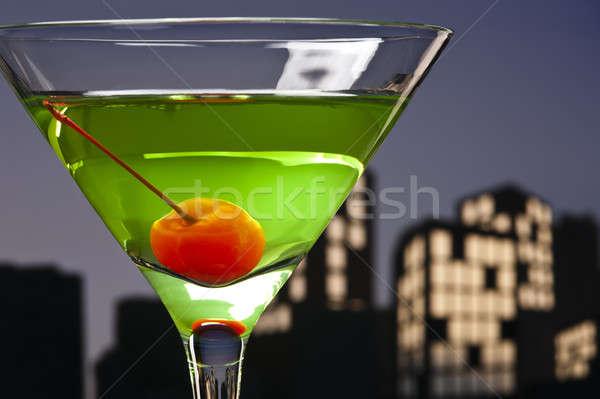 метрополия яблоко Martini коктейль Skyline счастливым Сток-фото © 3523studio