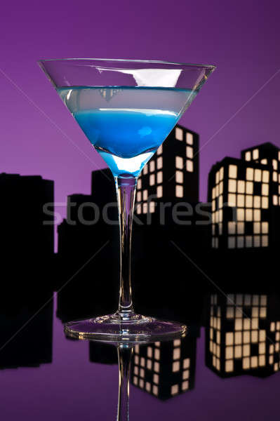 Métropole bleu martini cocktail Skyline fête Photo stock © 3523studio