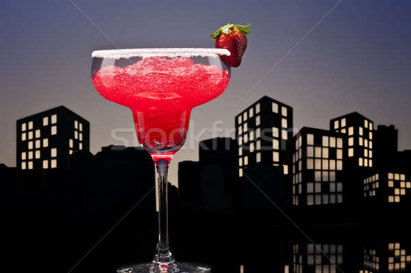 Métropole fraise cocktail verre été Photo stock © 3523studio