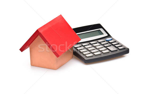 red roofed house over white with calculator Stock photo © 3523studio