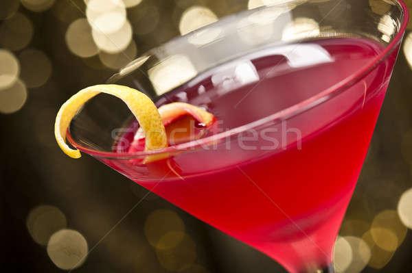 Cosmopolite cocktail citron garnir or glitter Photo stock © 3523studio
