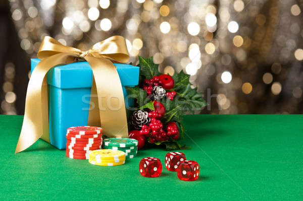 Red dice and poker chips Stock photo © 3523studio
