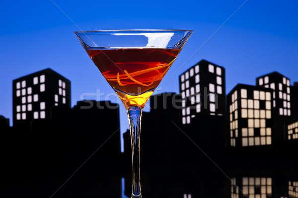 Világváros Manhattan koktél városkép whiskey édes Stock fotó © 3523studio