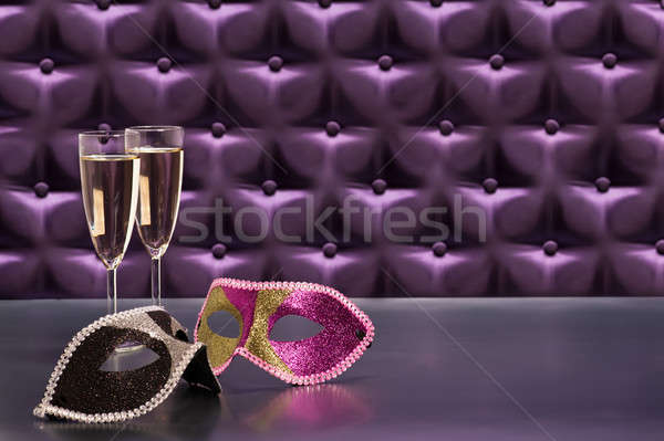 Nowego rok uroczystości przycisk fioletowy jedwabiu Zdjęcia stock © 3523studio