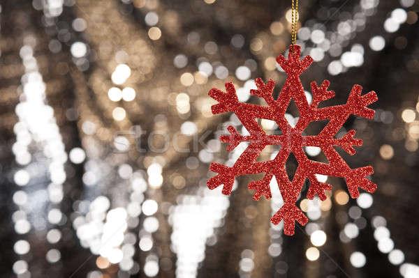 красный снежинка золото блеск Рождества счастливым Сток-фото © 3523studio