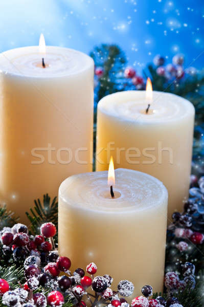 Tres velas nevadas advenimiento flor Foto stock © 3523studio