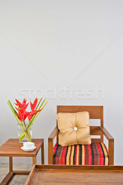 Beige upholstered chair Stock photo © 3523studio