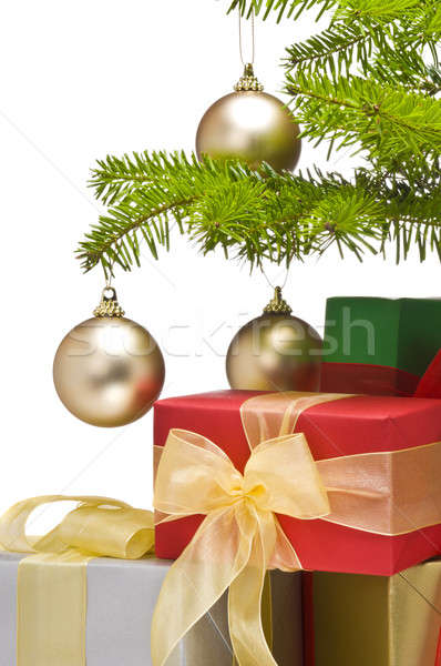Przedstawia odznaczony choinka drzewo tle piłka Zdjęcia stock © 3523studio