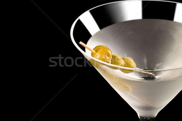 Wodkamartini zwarte voedsel groene witte olijfolie Stockfoto © 3523studio
