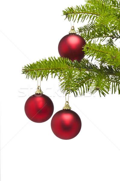 Three red decoration balls in Christmas tree branch Stock photo © 3523studio