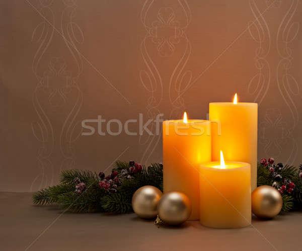 Сток-фото: приход · Рождества · венок · темно · вечеринка