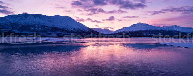 Crepuscolo sopra Norvegia colori artico cerchio Foto d'archivio © 3523studio