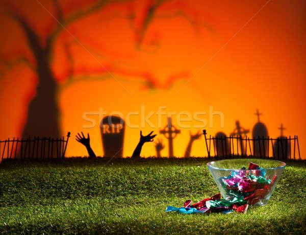 Zombie handen kerkhof ontwerp oranje groene Stockfoto © 3523studio