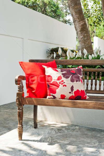 Stockfoto: Outdoor · patio · mooie · bank · zonsondergang · huis