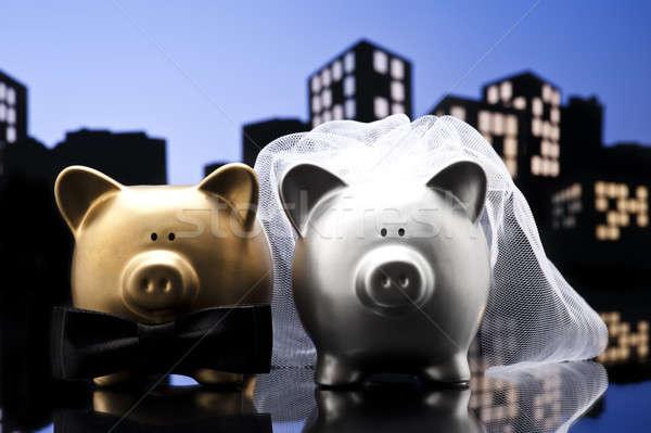 Metropol şehir domuz düğün kumbara peçe Stok fotoğraf © 3523studio