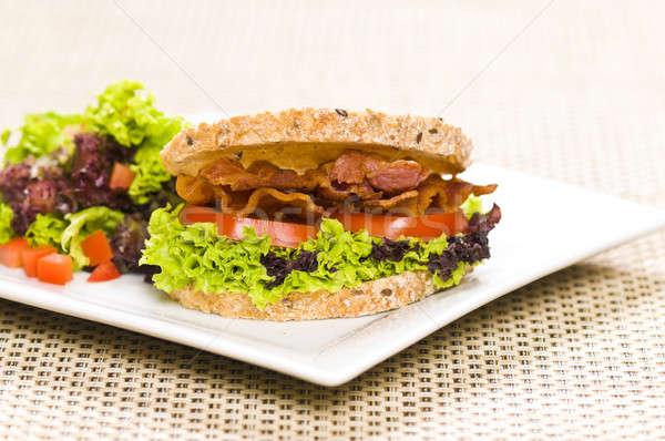 ストックフォト: クローズアップ · サンドイッチ · 豊富な · サラダ · 単純な · 食品