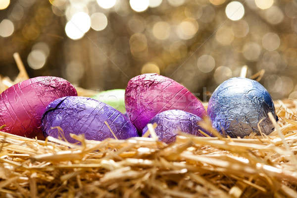 ストックフォト: チョコレート · イースターエッグ · 自然 · わら · 巣 · 美しい