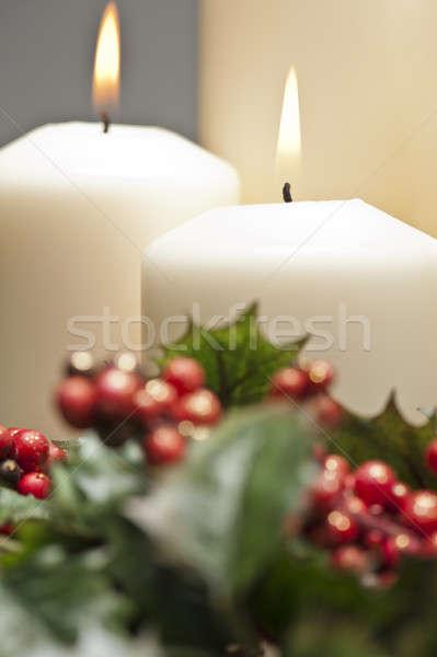 Wieniec palenie świece christmas czasu Zdjęcia stock © 3523studio