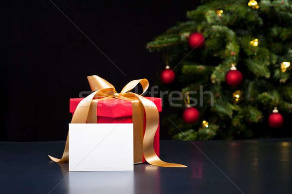 Christmas present with white card Stock photo © 3523studio