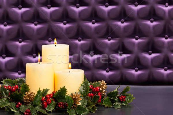 Advent flower arrangement with burning candles Stock photo © 3523studio