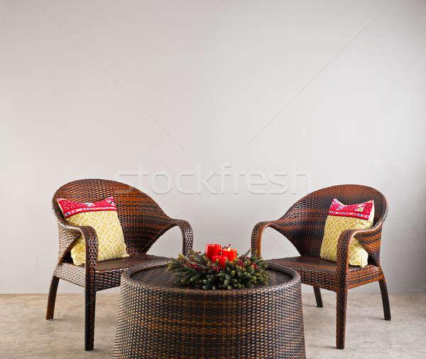Сток-фото: коричневый · стульев · таблице · цветы · древесины · дизайна