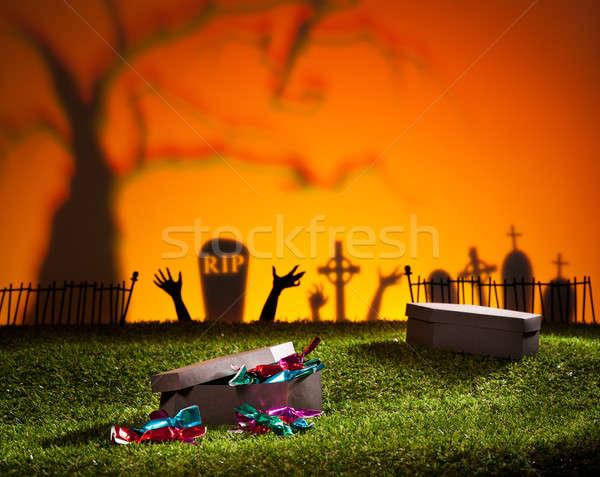 Halloween caixão gramado doces projeto Foto stock © 3523studio