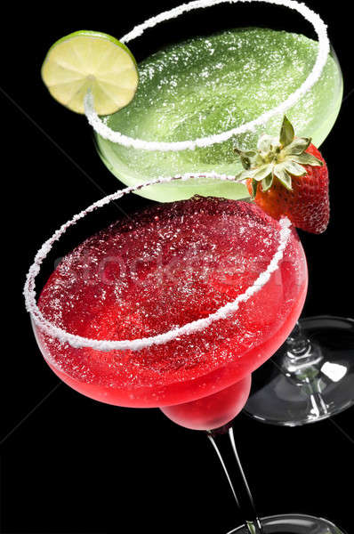 Green and Red Margarita in front of a black background Stock photo © 3523studio