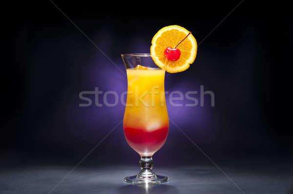 Tequila napfelkelte koktél kék jég piros Stock fotó © 3523studio