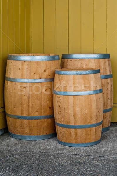 Foto stock: Três · parede · vinho · vintage · vinha