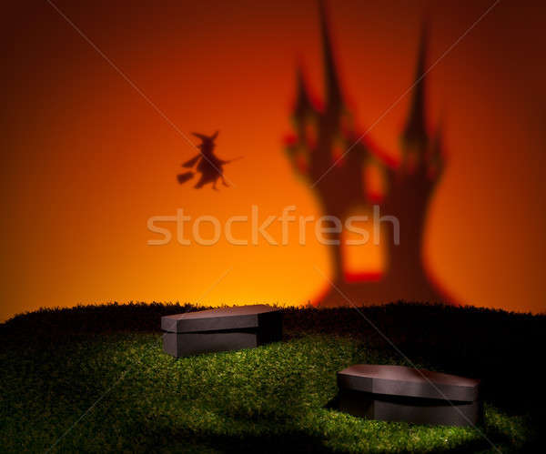 Witch flies home to her castle Stock photo © 3523studio