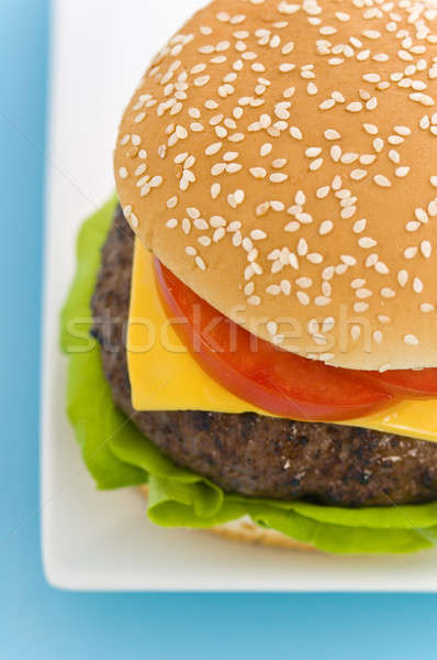 Classic Hamburger with cheese tomato and salad Stock photo © 3523studio