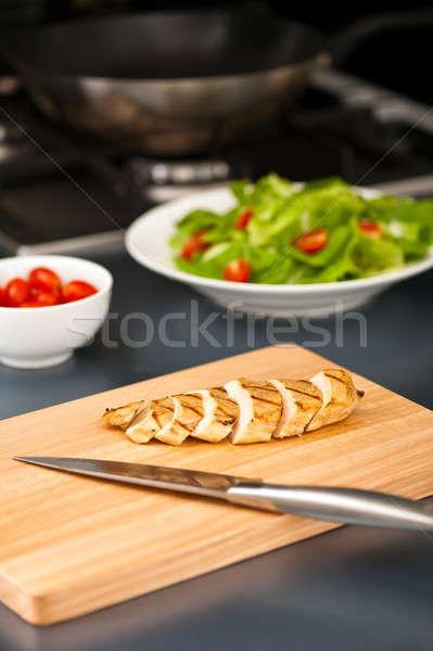 Pechuga de pollo ensalada ingrediente agradable naturaleza muerta Foto stock © 3523studio