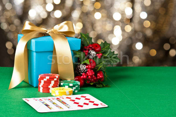 Royal straight flush in Christmas setting  Stock photo © 3523studio